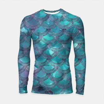 Teal Purple Mermaid Scales Glam #1 #shiny #decor #art Longsleeve rashguard obraz miniatury