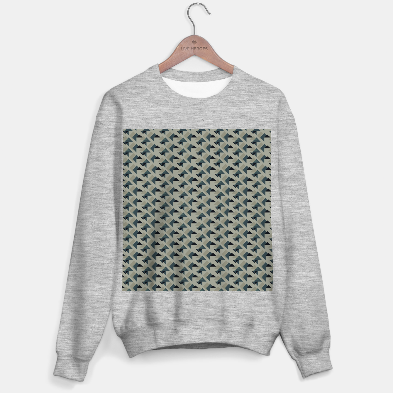 Image of Gray And Back Triangles Sweater regular - Live Heroes