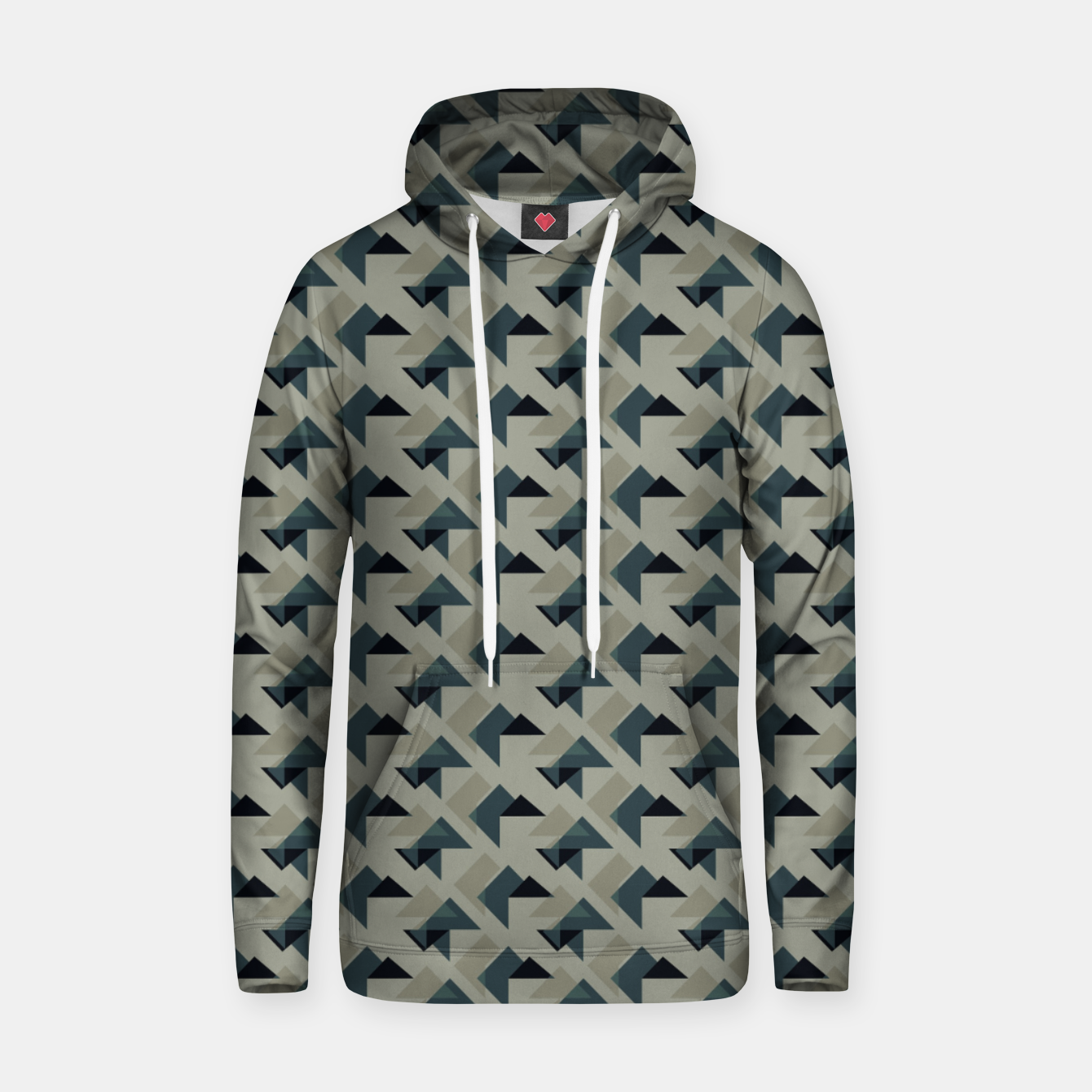 Image of Gray And Back Triangles Hoodie - Live Heroes