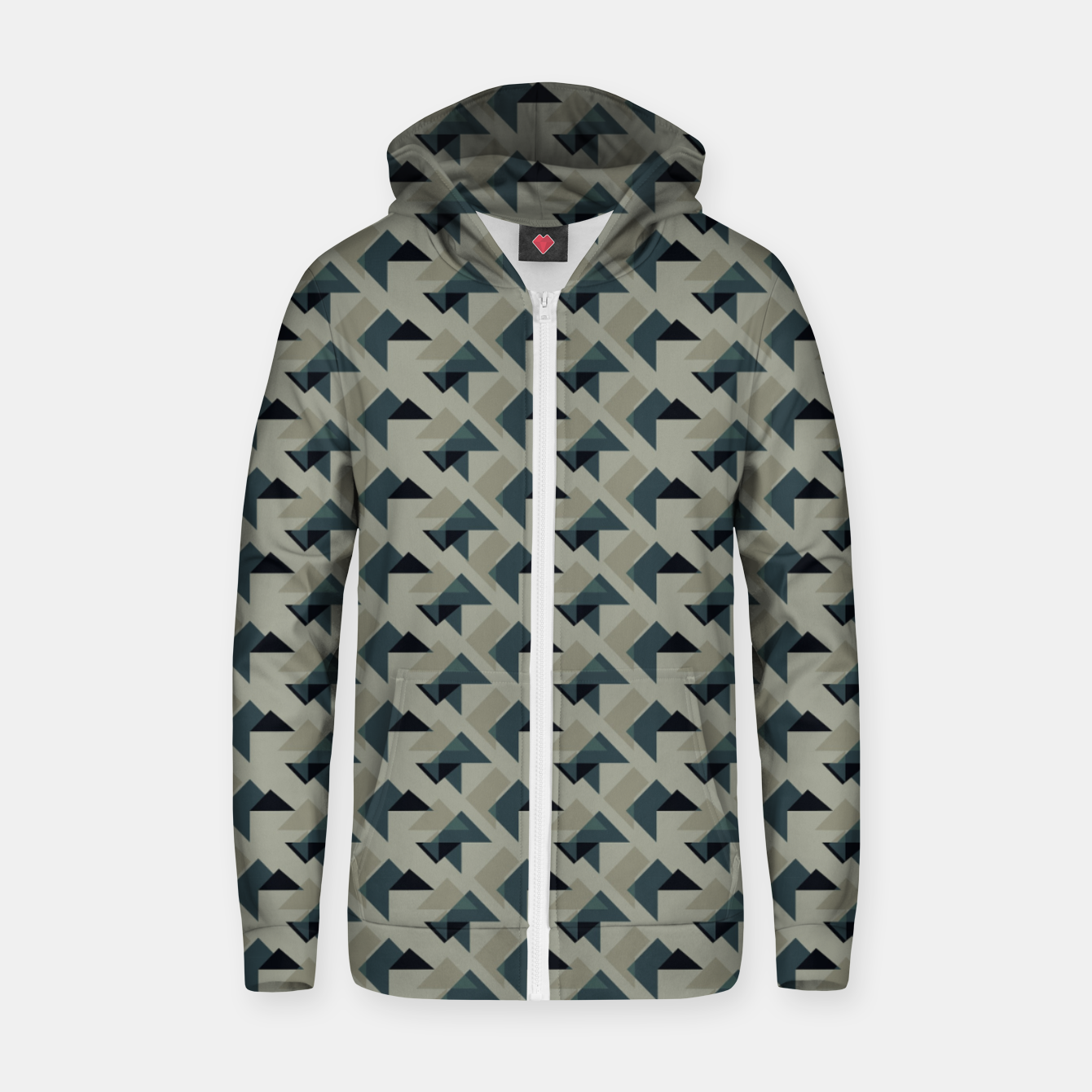 Image of Gray And Back Triangles Zip up hoodie - Live Heroes
