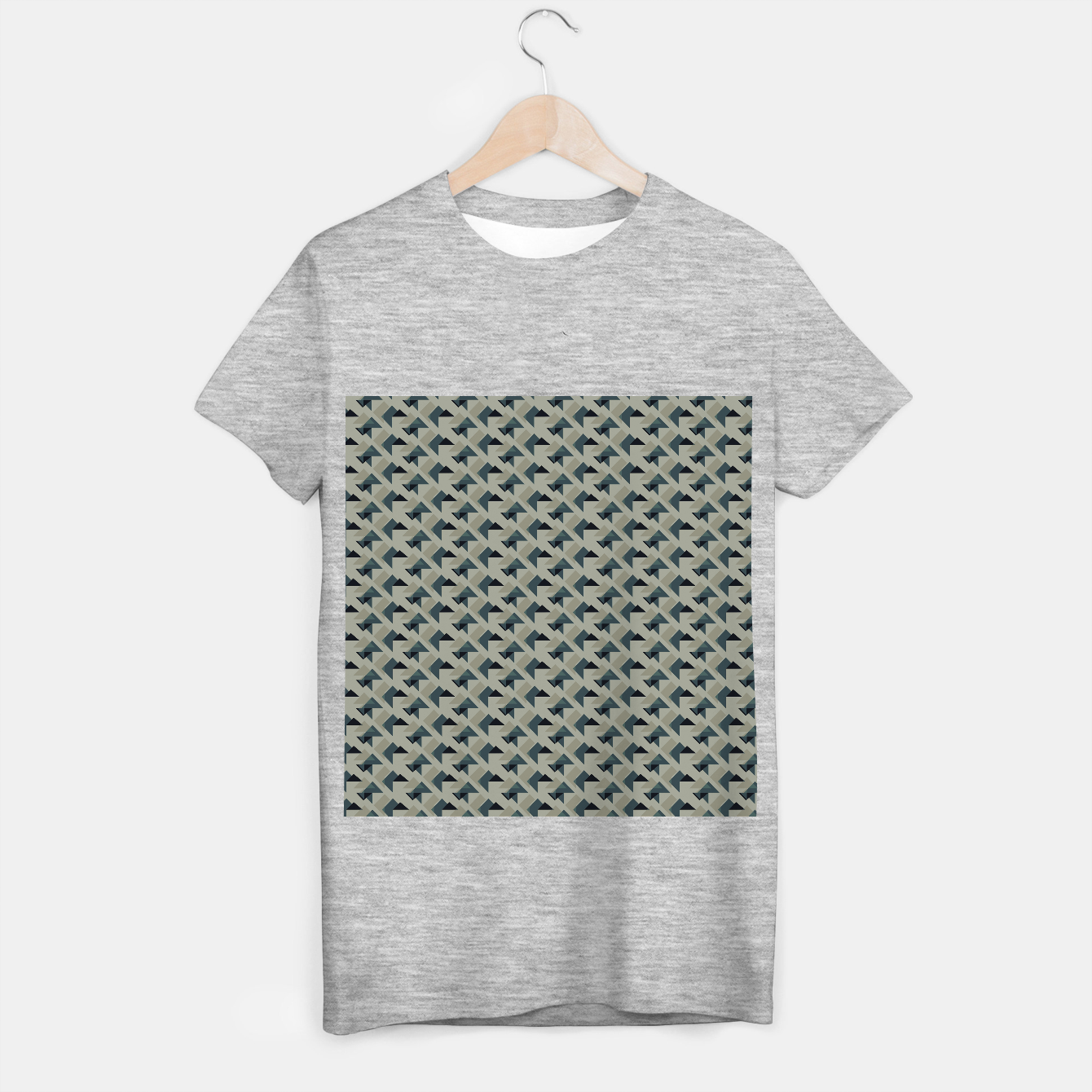 Image of Gray And Back Triangles T-shirt regular - Live Heroes