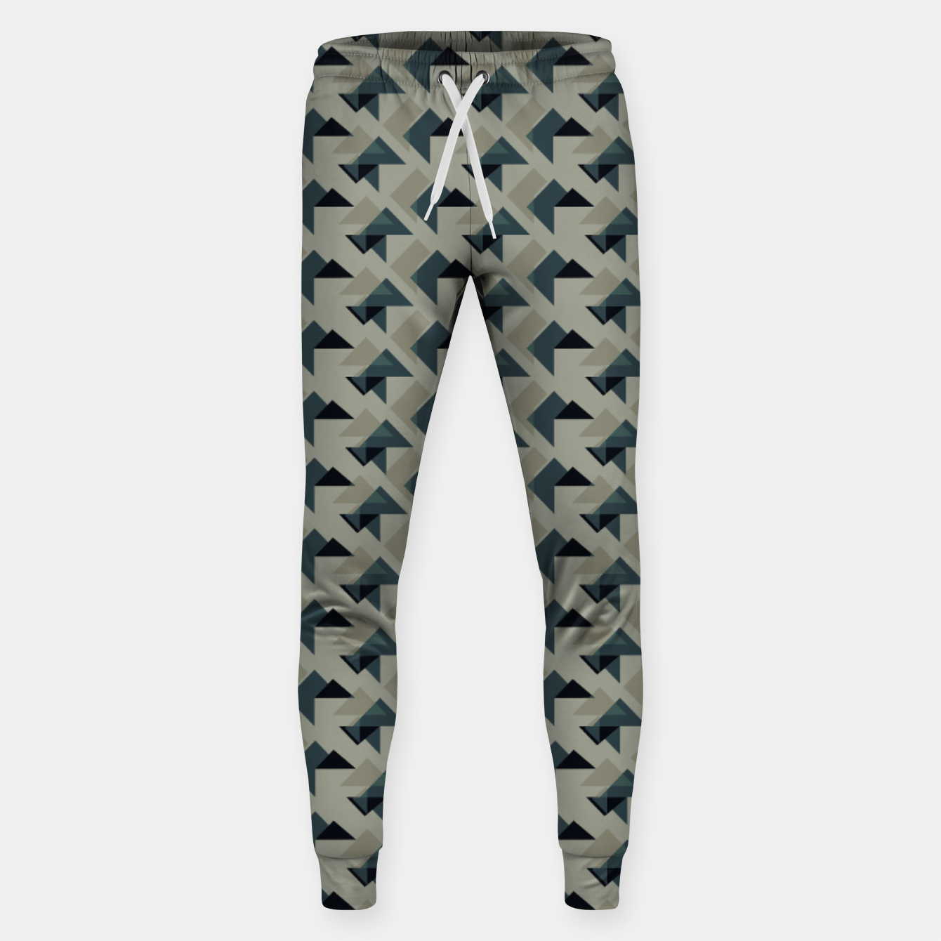 Image of Gray And Back Triangles Sweatpants - Live Heroes