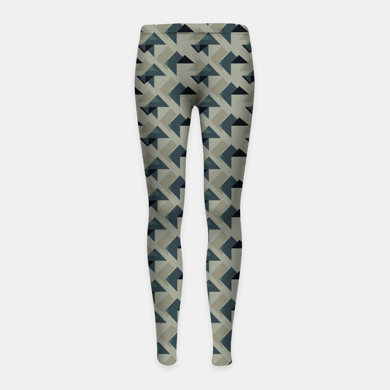 Image of Gray And Back Triangles Girl's leggings - Live Heroes