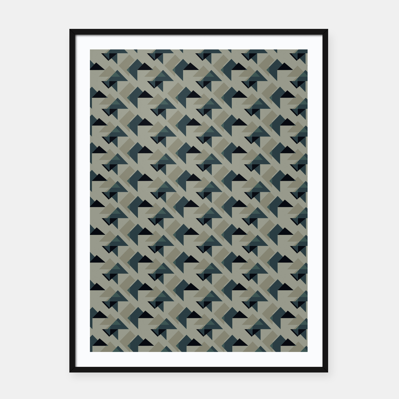 Image of Gray And Back Triangles Framed poster - Live Heroes