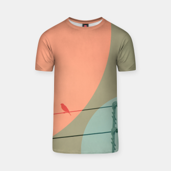 Thumbnail image of Bird on wire and shapes T-shirt, Live Heroes