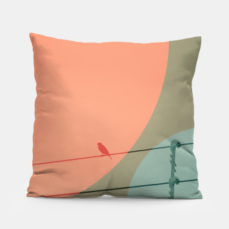 Thumbnail image of Bird on wire and shapes Pillow, Live Heroes