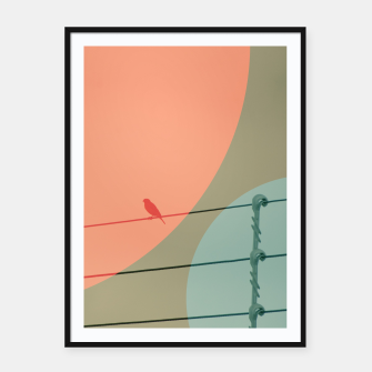Thumbnail image of Bird on wire and shapes Framed poster, Live Heroes