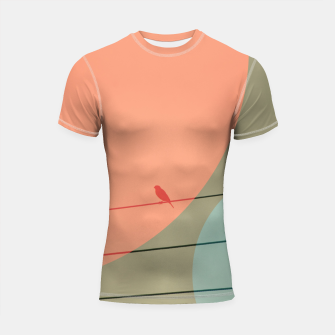 Thumbnail image of Bird on wire and shapes Shortsleeve rashguard, Live Heroes