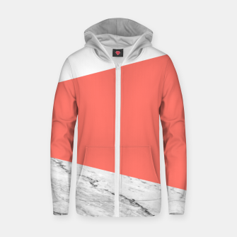 Marble Coral living Geometry Zip up hoodie thumbnail image
