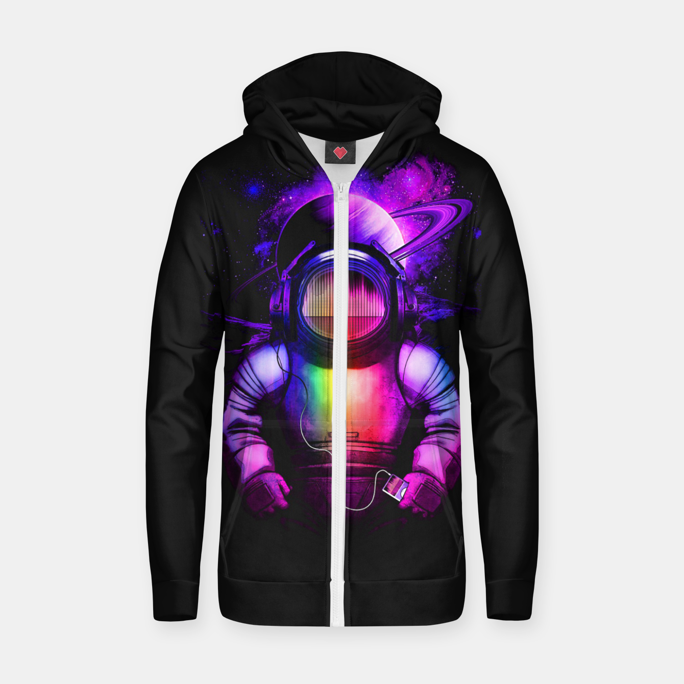 Image of Music in Space Zip up hoodie - Live Heroes