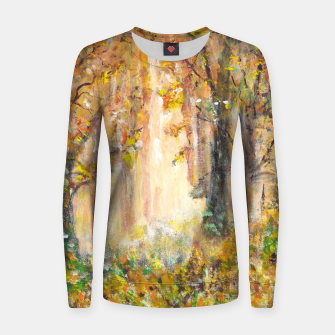 Miniatur Magical Forest 600dpi scan of original acrylic art Women sweater, Live Heroes