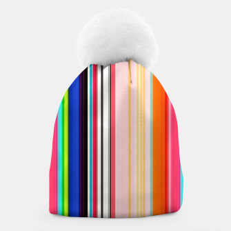 Thumbnail image of Colorful Bold Stripe Print Beanie, Live Heroes