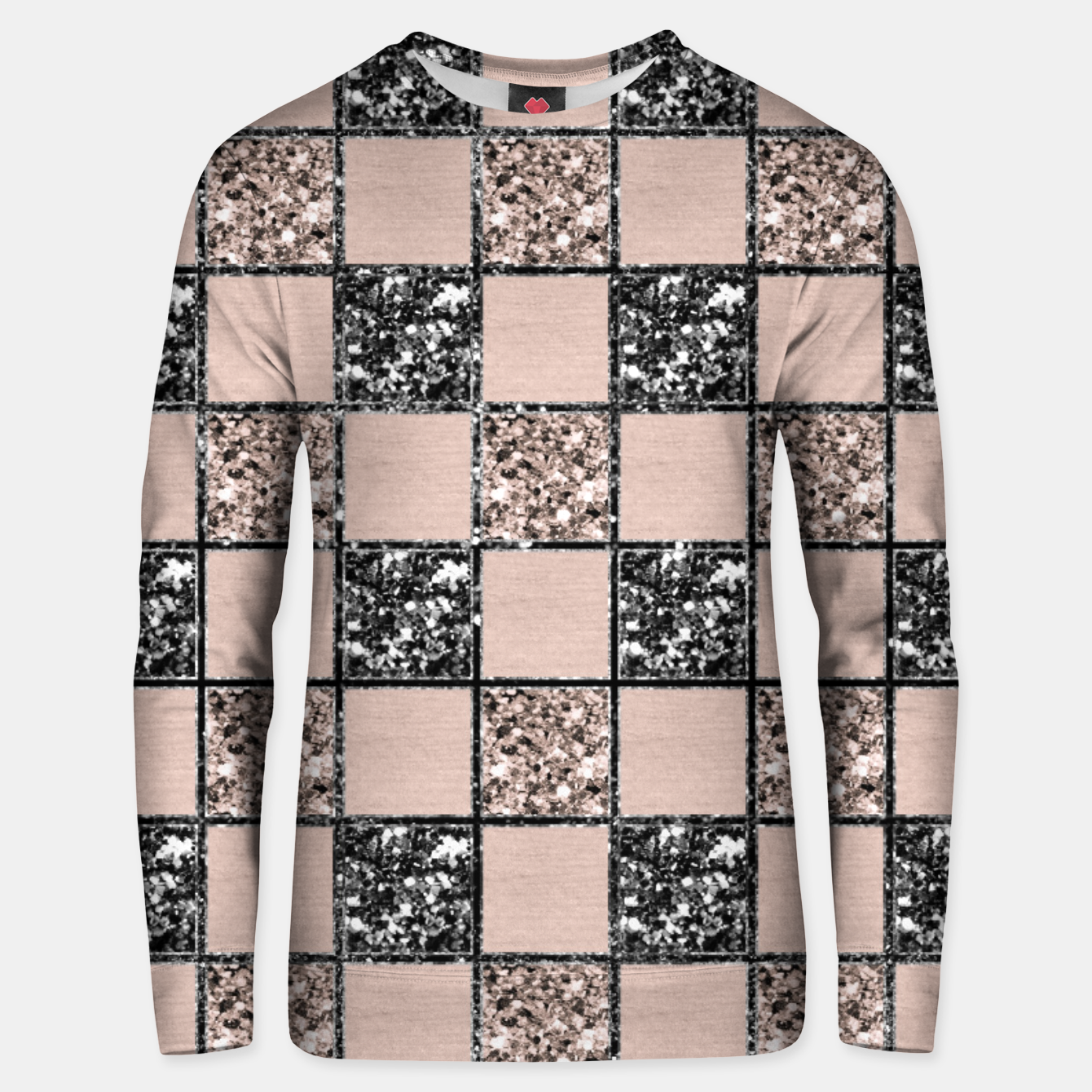 Image of Blush Check Glitter Glam #2 #geometric #decor #art  Unisex sweatshirt - Live Heroes