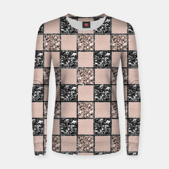 Blush Check Glitter Glam #2 #geometric #decor #art  Frauen sweatshirt thumbnail image