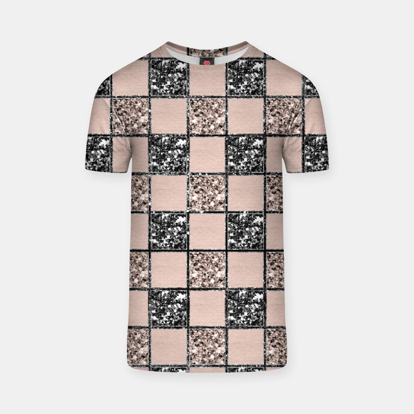 Image of Blush Check Glitter Glam #2 #geometric #decor #art  T-Shirt - Live Heroes