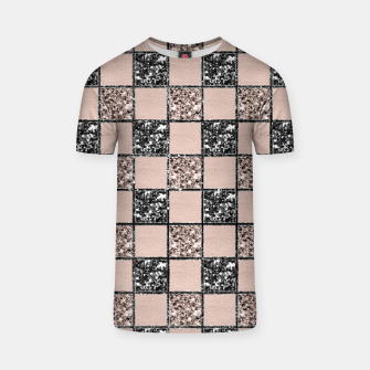 Blush Check Glitter Glam #2 #geometric #decor #art  T-Shirt thumbnail image