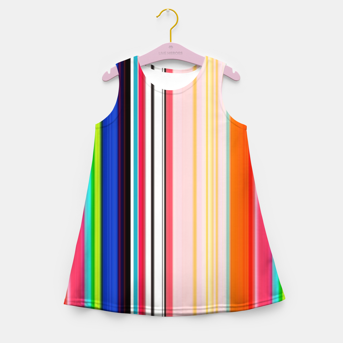 Image of Colorful Bold Stripe Print Girl's summer dress - Live Heroes