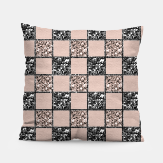 Thumbnail image of Blush Check Glitter Glam #2 #geometric #decor #art  Kissen, Live Heroes
