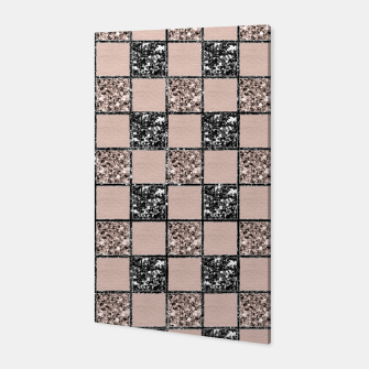 Thumbnail image of Blush Check Glitter Glam #2 #geometric #decor #art  Canvas, Live Heroes
