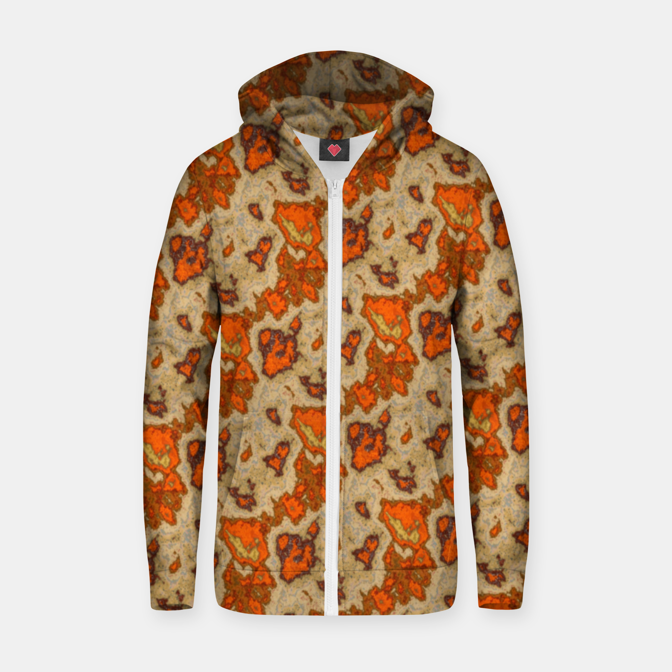 Image of Earthy Tones Animal Skin Pattern Zip up hoodie - Live Heroes
