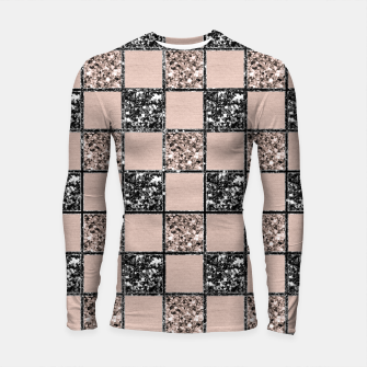 Blush Check Glitter Glam #2 #geometric #decor #art  Longsleeve rashguard thumbnail image