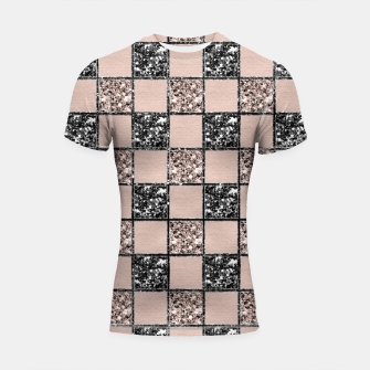 Thumbnail image of Blush Check Glitter Glam #2 #geometric #decor #art  Shortsleeve rashguard, Live Heroes