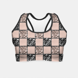 Thumbnail image of Blush Check Glitter Glam #2 #geometric #decor #art  Crop Top, Live Heroes