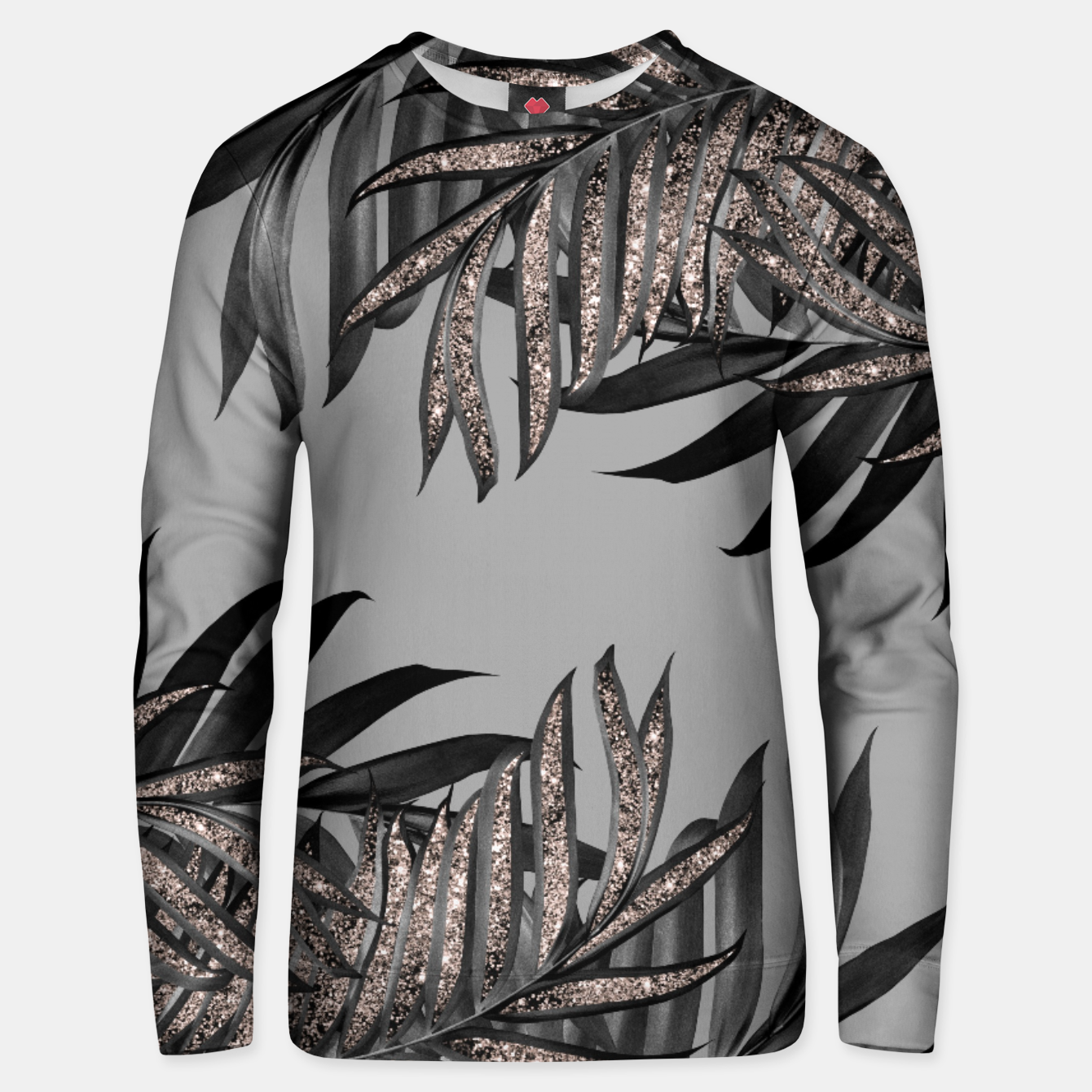 Image of Gray Black Palm Leaves with Rose Gold Glitter #5 #tropical #decor #art  Unisex sweatshirt - Live Heroes