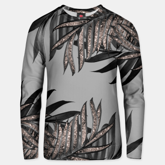 Gray Black Palm Leaves with Rose Gold Glitter #5 #tropical #decor #art  Unisex sweatshirt thumbnail image