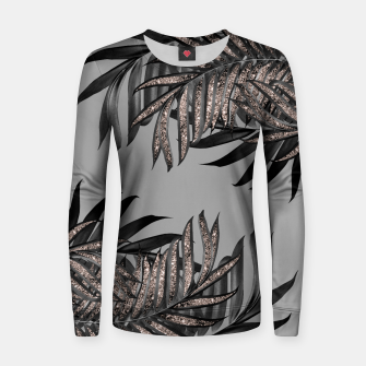 Gray Black Palm Leaves with Rose Gold Glitter #5 #tropical #decor #art  Frauen sweatshirt thumbnail image