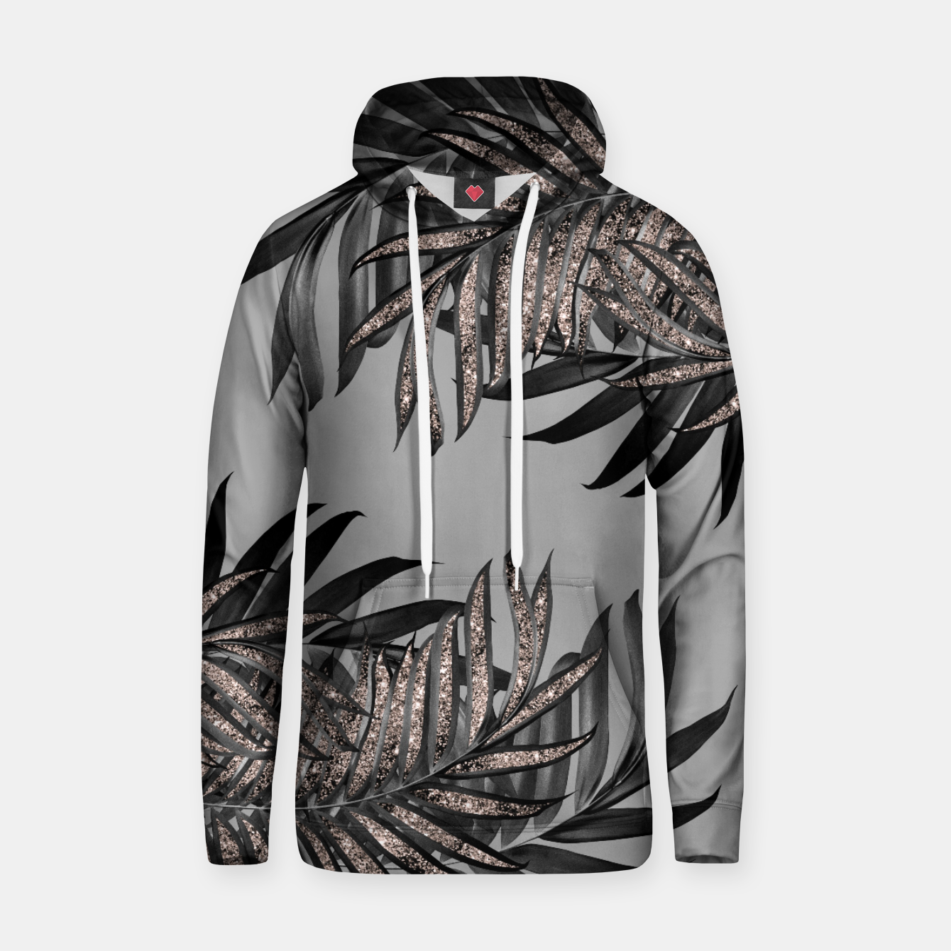 Image of Gray Black Palm Leaves with Rose Gold Glitter #5 #tropical #decor #art  Kapuzenpullover - Live Heroes