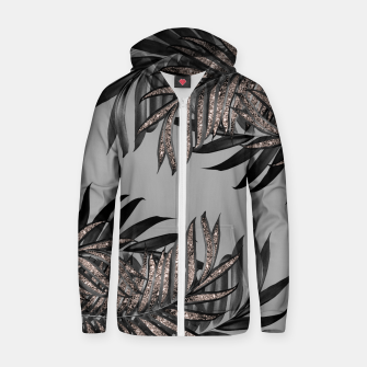 Gray Black Palm Leaves with Rose Gold Glitter #5 #tropical #decor #art  Reißverschluss kapuzenpullover thumbnail image