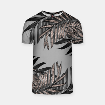Gray Black Palm Leaves with Rose Gold Glitter #5 #tropical #decor #art  T-Shirt thumbnail image