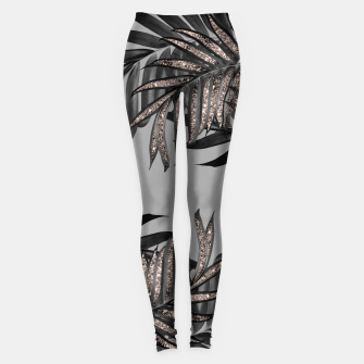 Gray Black Palm Leaves with Rose Gold Glitter #5 #tropical #decor #art  Leggings thumbnail image