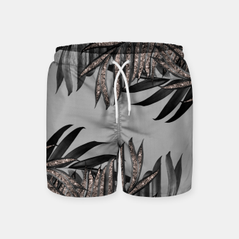Gray Black Palm Leaves with Rose Gold Glitter #5 #tropical #decor #art  Badeshorts thumbnail image