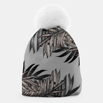 Gray Black Palm Leaves with Rose Gold Glitter #5 #tropical #decor #art  Mütze thumbnail image