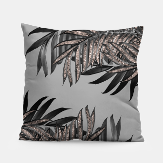 Gray Black Palm Leaves with Rose Gold Glitter #5 #tropical #decor #art  Kissen thumbnail image