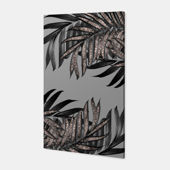 Gray Black Palm Leaves with Rose Gold Glitter #5 #tropical #decor #art  Canvas thumbnail image