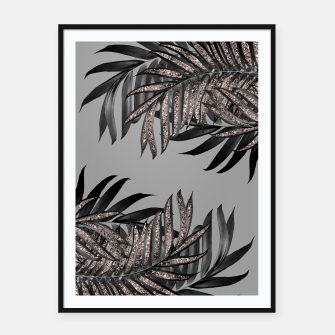 Gray Black Palm Leaves with Rose Gold Glitter #5 #tropical #decor #art  Plakat mit rahmen thumbnail image