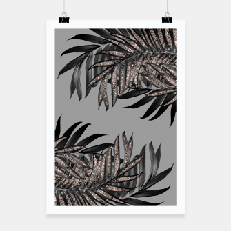 Gray Black Palm Leaves with Rose Gold Glitter #5 #tropical #decor #art  Plakat thumbnail image