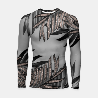 Gray Black Palm Leaves with Rose Gold Glitter #5 #tropical #decor #art  Longsleeve rashguard thumbnail image