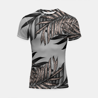 Gray Black Palm Leaves with Rose Gold Glitter #5 #tropical #decor #art  Shortsleeve rashguard thumbnail image