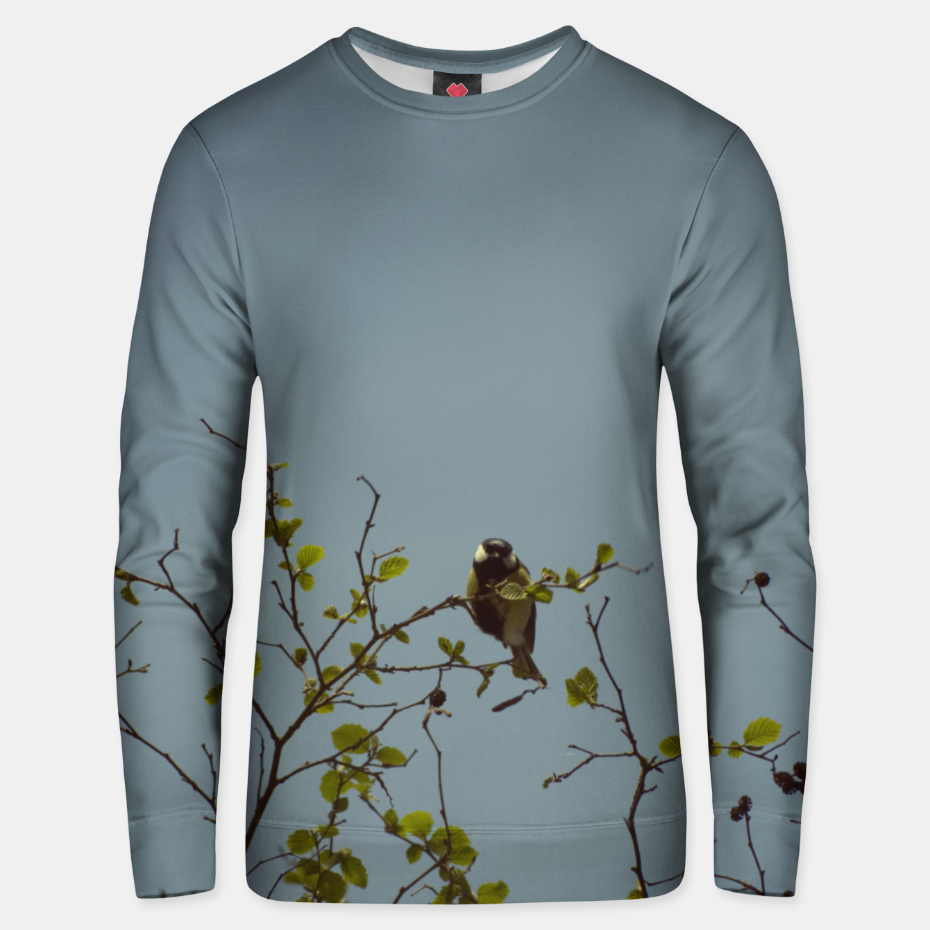 Image of Great tit on a branch Unisex sweater - Live Heroes