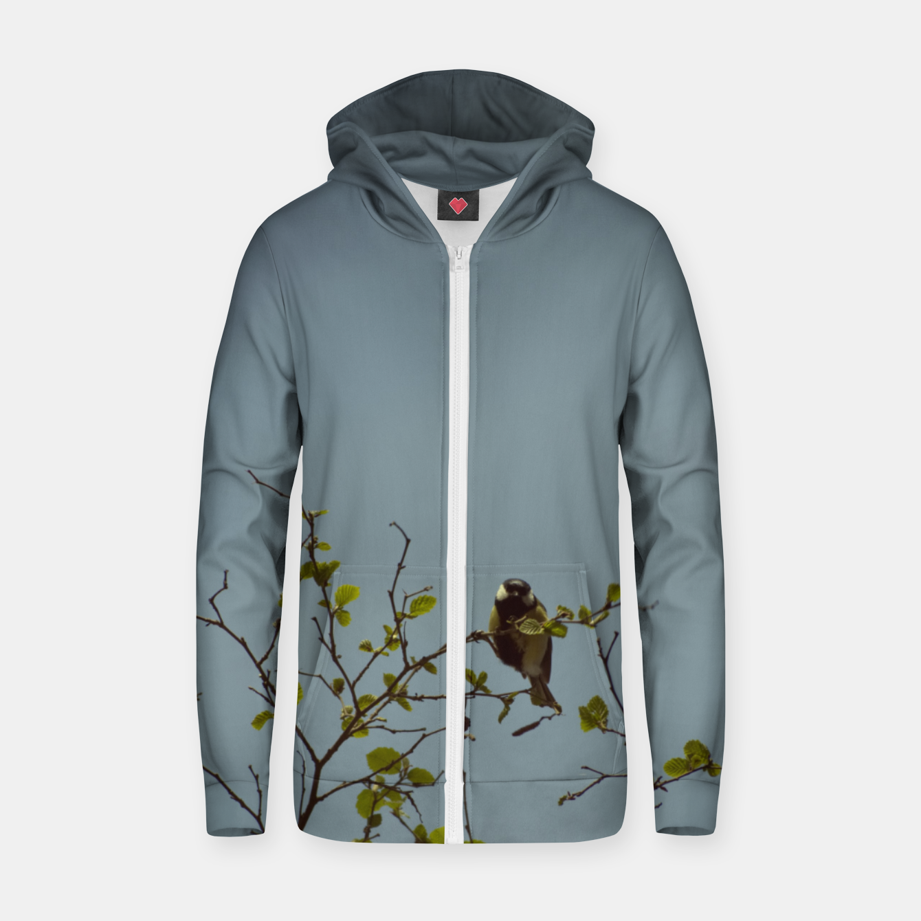 Image of Great tit on a branch Zip up hoodie - Live Heroes