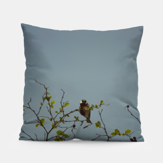 Great tit on a branch Pillow thumbnail image