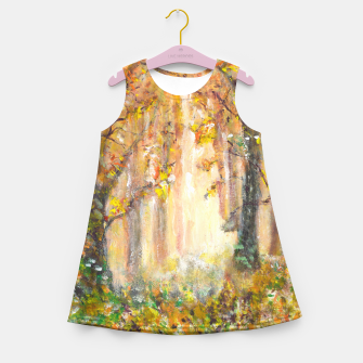 Miniatur Magical Forest 600dpi scan of original acrylic art Girl's summer dress, Live Heroes