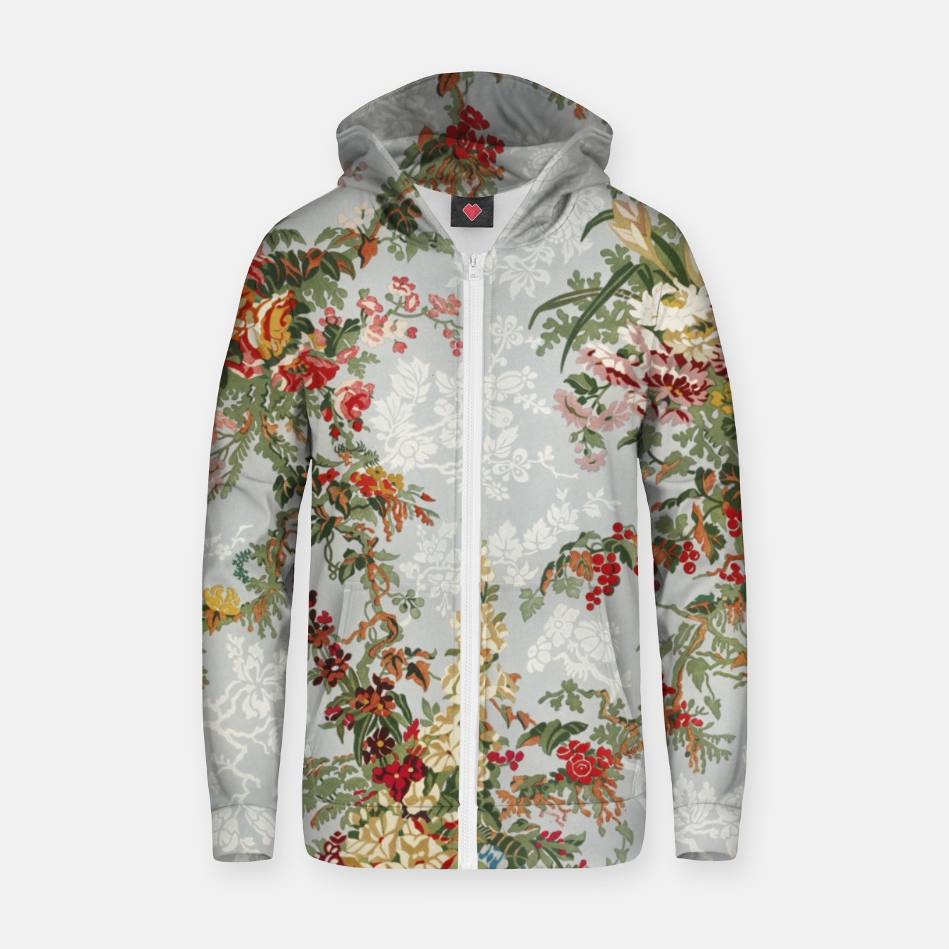 Image of Floral in grey Zip up hoodie - Live Heroes