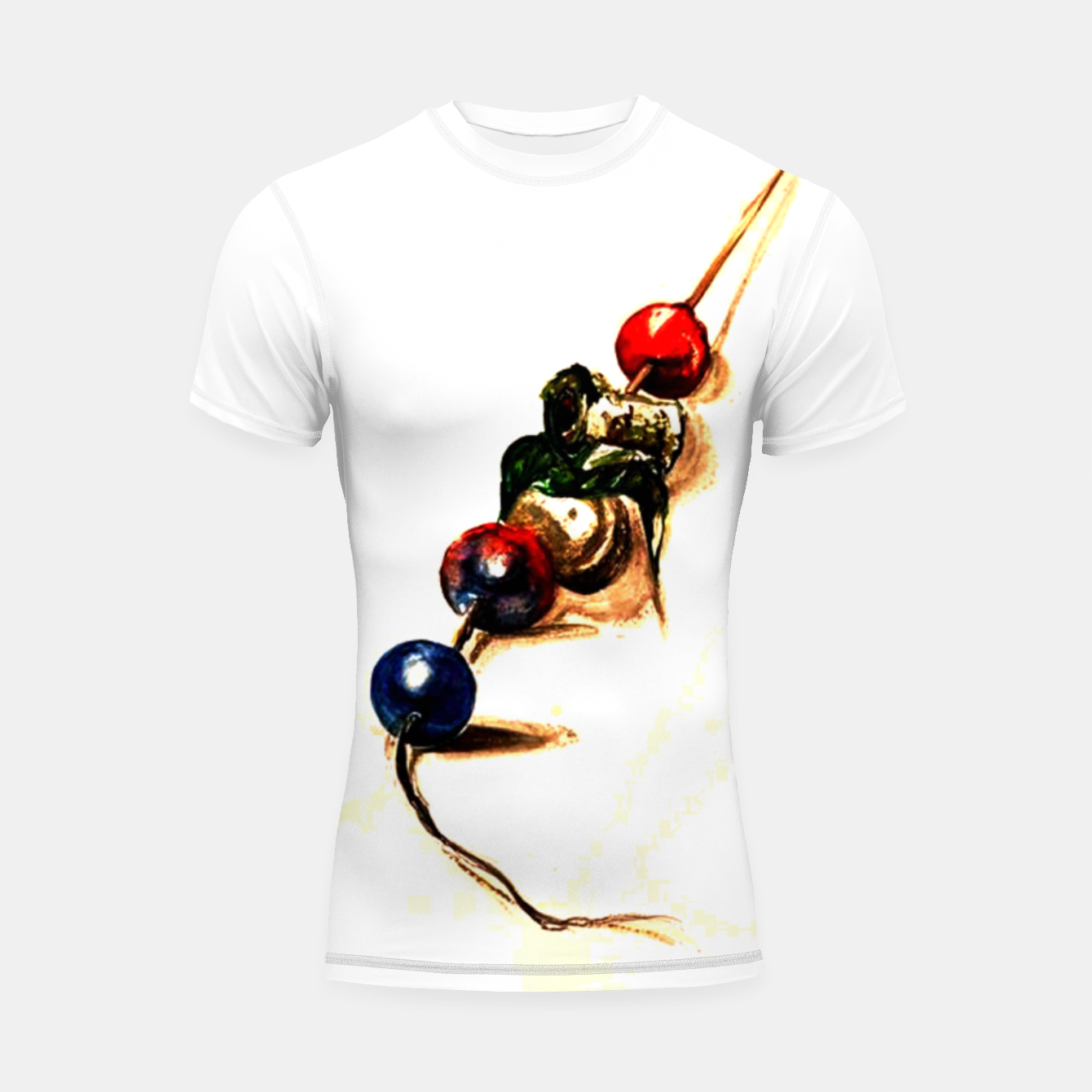 Image of Food surrealism  skewer Yulia A Korneva Shortsleeve rashguard - Live Heroes