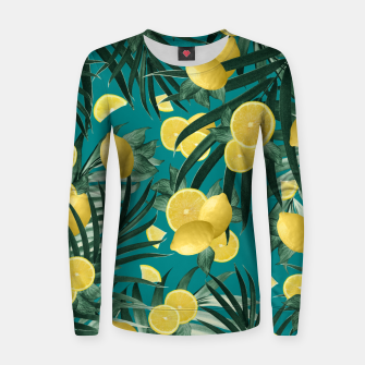 Thumbnail image of Summer Lemon Twist Jungle #5 #tropical #decor #art Frauen sweatshirt, Live Heroes