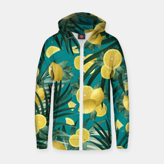 Thumbnail image of Summer Lemon Twist Jungle #5 #tropical #decor #art Reißverschluss kapuzenpullover, Live Heroes